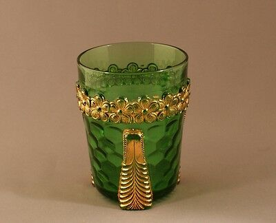 Vintage EAPG U.S. Glass Company Green Vermont Water Tumbler Honeycomb c.1899