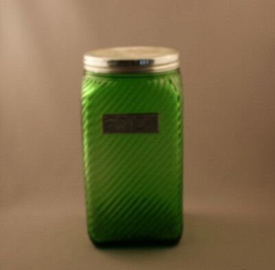 Owens Illinois Glass Forest Green Ribbed Rice Canister French Cdn Riz c.1935
