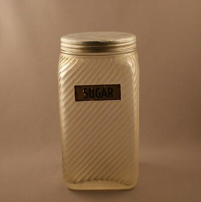 Owens Illinois Glass Crystal Frosted Ribbed Sugar Canister c.1935