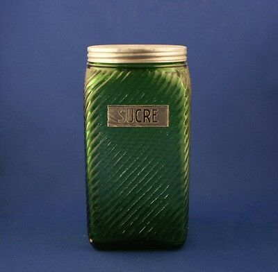 Owens Illinois Glass Forest Green Ribbed Sugar Canister French Cdn Sucre c.1935