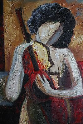 """Original Hand Painted 20""""x 24"""" Stretched Oil Painting """"Nude Violinist"""" Art"""