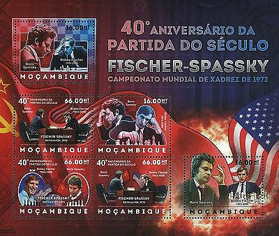 Mozambique 2012 Stamps, MOZ1228C 40th Ann Fischer-Spassky,Famous People,S/S