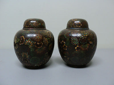 FABULOUS PAIR of 19th C. ANTIQUE CHINESE CLOISONNE ENAMEL SMALL LIDDED JARS