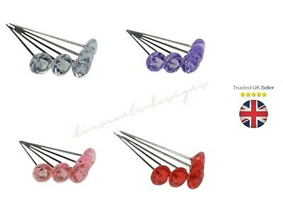 Diamante / Diamonte Pins Buttonholes Weddings Bouquets Assorted Colours ML