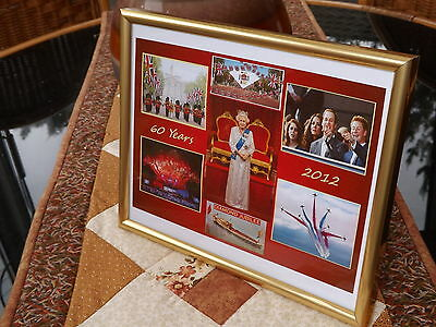 QUEENS DIAMOND JUBILEE, 2012 - 60 YEARS, 10X8 GOLD FRAME, ROYAL FAMILY.