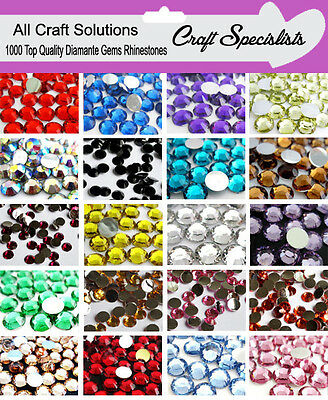 1000 Flat Back Rhinestones Shiny Gems Diamante Crystals 2mm 3mm 4mm 5mm