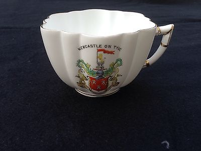 Victorian Crested China Cup - Wileman (Foley Shelley) c1890 Newcastle On Tyne