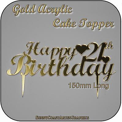Gold / Silver Happy Birthday Cake Toppers - Personalised Custom Laser Acrylic