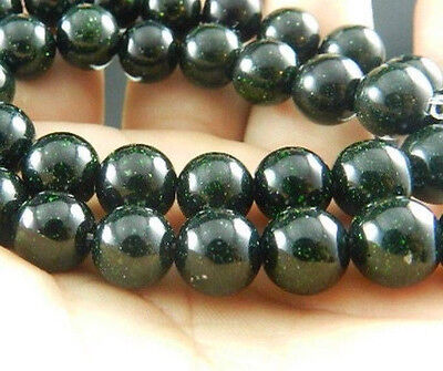 Natural 8mm Galaxy Staras Green Sand Sun Sitara Loose Bead 15''