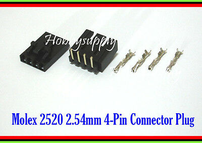 MOLEX 2543 2.54mm 4-Pin Male Right Angle, Female Lock Connector, Crimp x 10 Sets