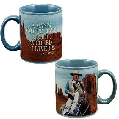 John Wayne Creed to Live By Coffee Mug Ceramic Western Movie Cup for Men 12 oz.