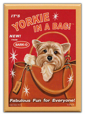 Retro Dogs Refrigerator Magnets: YORKIE | IN A BAG | Vintage Advertising Art