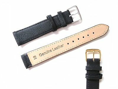 Black High Quality Mens Ladies Genuine Soft Leather Watch Band Strap 6mm-22mm