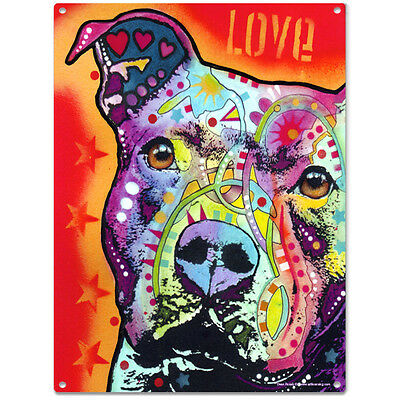 Thoughtful Pit Bull Dog Dean Russo Metal Sign Pet Steel Wall Decor 12 x 16