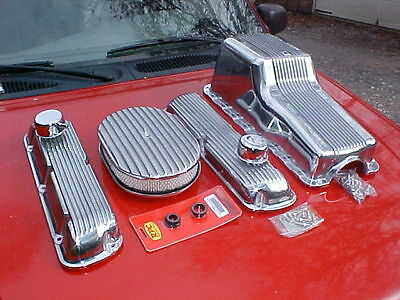 polished finned cover kit,Ford 289/302,valve covers,oil pan,air cleaner,rat rod