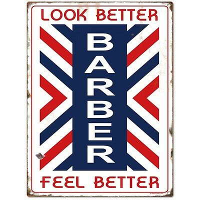 Barber Look Better Metal Sign Distressed Vintage Shop Pole Wall Decor 12 x 16