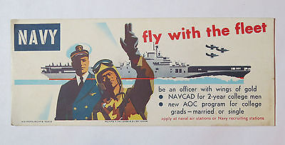 NAVY - Fly With The Fleet Ink Blotter Aircraft Carrier WW2 Military