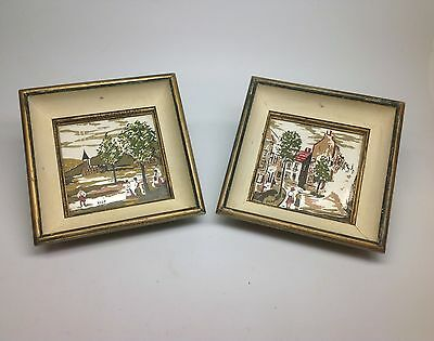 pair of vintage Mid Century DUZE Painted Art Tiles framed