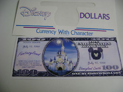"Novelty $100 Dollars Bill""disneyland Castle"" + Disney Dollar Envelope"