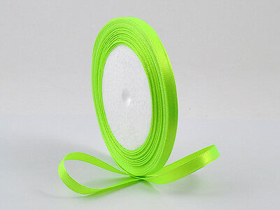 5 Yards Satin Ribbon 6mm Fluorescent Green Scrap Book Craft 1/4 Fluoro 4.572 Mtr