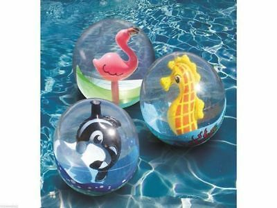 Pool Toy captured  Beach Ball whale seahorse flamingo 61cm inflated