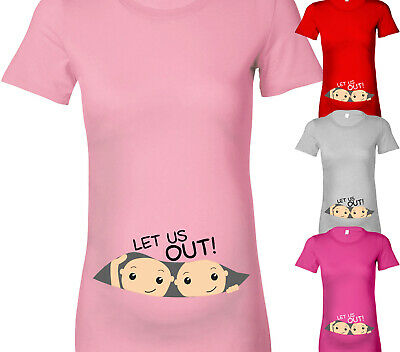 Twins Let Us Out Cute Fun Designer Maternity T Shirt Tshirt Baby Shower Gift