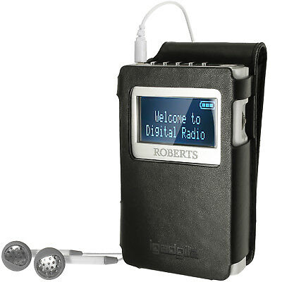 Black PU Leather Case Cover for Roberts Sports Dab 5 Radio Belt Clip Screen Prot