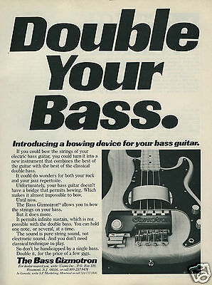 """1980 Bass Guitar Gizmotron Bowing Device """"Double Your Bass"""" Original Ad"""