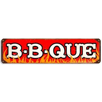 B-B-Que Flames Metal Sign Distressed Red Vintage BBQ Kitchen Decor 20 x 5