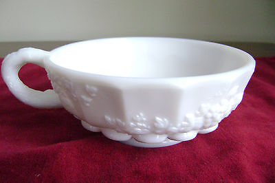 Westmoreland Paneled Grape Milk Glass Candy Dish, Nappy, or Candle Holder