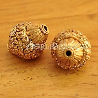 UB1264 Nepalese Artisan Handmade Copper Gold Plated Carved 2 Beads  from Nepal