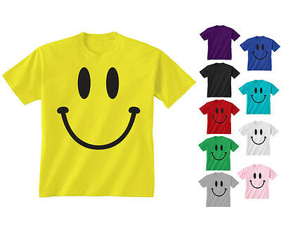Kids Childrens Smiley Happy Face T-shirt 5-13 Years