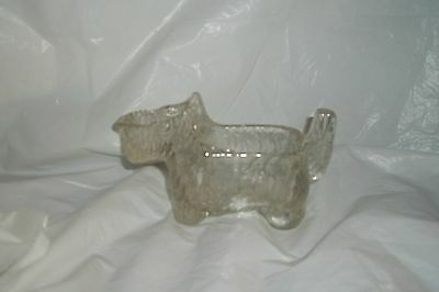 VINTAGE CLEAR GLASS SCOTTIE DOG PRESSED GLASS CREAMER CANDY DISH