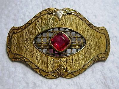 """Vintage Antique Victorian Style Pinkish Red Glass Pin Brooch 2 1/4"""" x 1.5"""""""