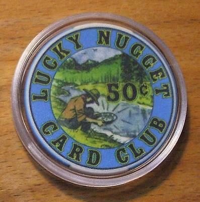 50 Cent Lucky Nugget Casino Chip - Card Room - Deadwood - Hard To Find Chip !!