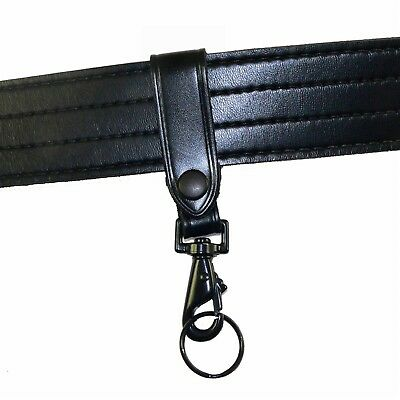 Leather Key Strap Police Belt Keeper Swivel Key Ring Black Corrections CBP