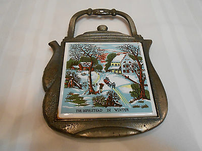 """""""THE HOMESTEAD IN WINTER"""" TEAPOT """"SEVEN STAR"""" TILE FOOTED TRIVET~WALL MOUNTABLE"""