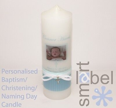 Personalised Christening, Baptism, Naming Day Candle blue