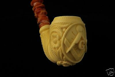 Mason Churchwarden by  Master Carver KUDRET Block Meerschaum Pipe in a CASE 6035