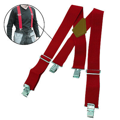 Pair Motorcycle Motorbike Ride Heavy Duty Elasticated Braces For Trousers Red