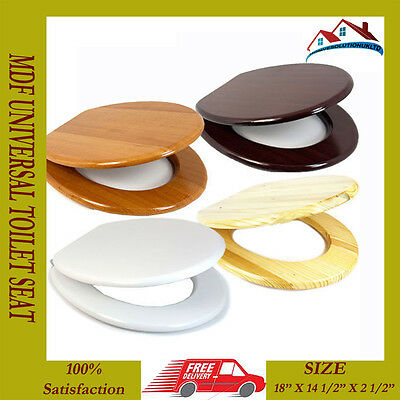 """Brand New 18""""mdf Universal Bathroom Wc Toilet Seat Easy Fit With Fittings Wooden"""