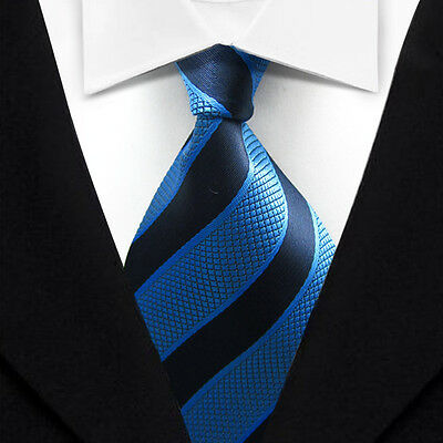 TK032 Blue Stripe New Classic WOVEN Silk JACQUARD Necktie Men's Tie