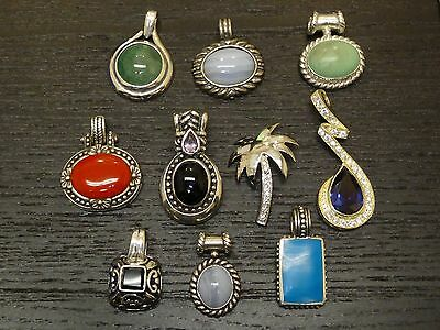 Jewelry Lot Of 10 .925 Sterling Silver Mix Of Gemstone Pendants #P2740