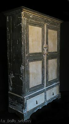 19th C. ITALIAN TWO DOOR PAINTED ARMOIRE. MUST SEE!!!