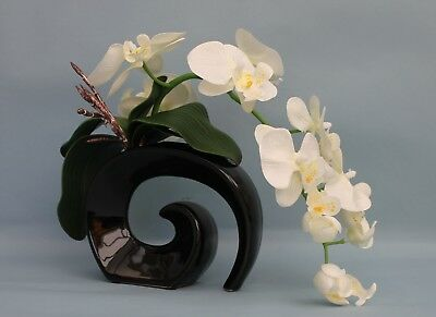 Artificial Silk Orchid In Cream With Leaves In Black Fossil Vase