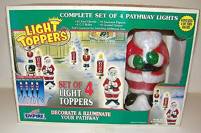 Vintage Empire Blow Mold Pathway Light Toppers Set of 4 Christmas Santa NEW