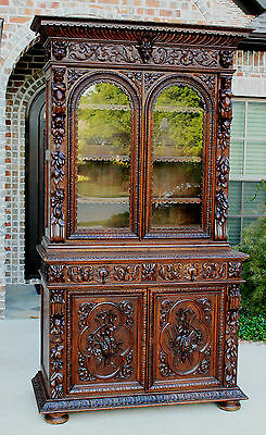 Antique French Oak Black Forest GOTHIC Bookcase HUNT Cabinet Cupboard 19th C
