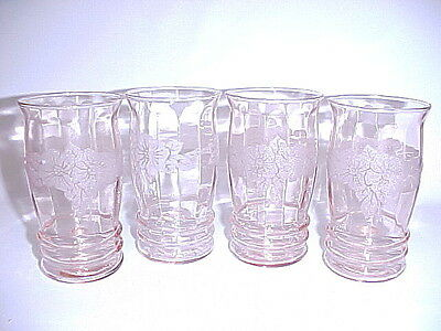 4 Vintage Matching Decorated Pink Dogwood 11 Ounce Tumblers / MacBeth Evans