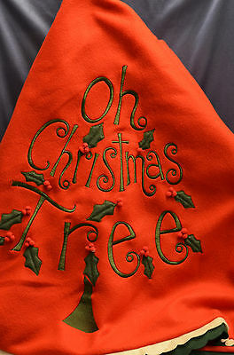 Fabric Red 52 inch Oh Christmas Tree Christmas Tree Skirt with Holly new