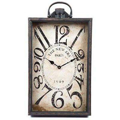 Antique Black Rectangular Metal Wall Clock Shabby Chic